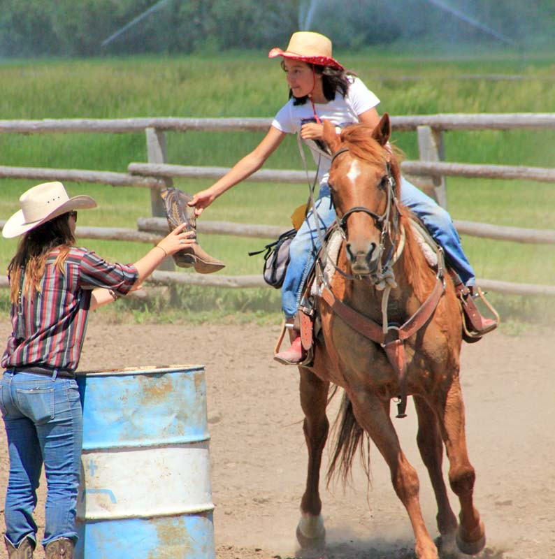 Horse riding with barrel