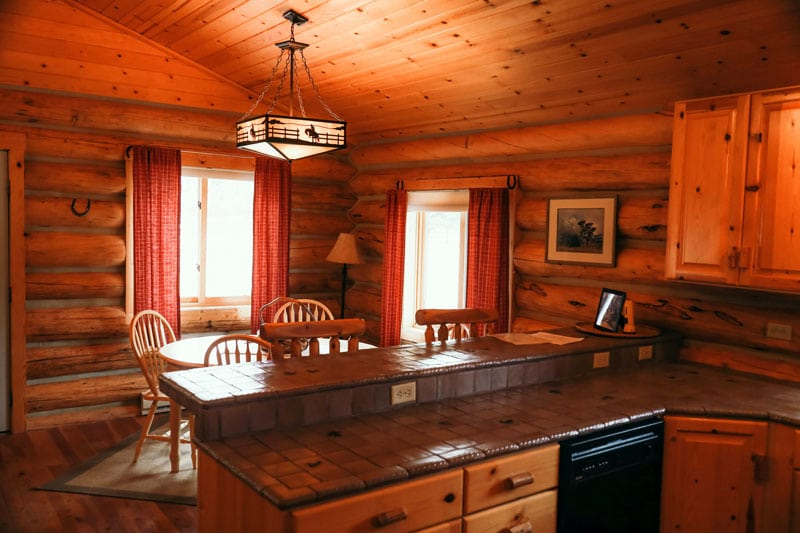 Nez Pierce Cabin dining area view from the kitchen