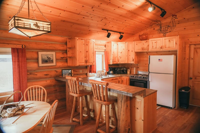 Nez Pierce Cabin kitchen view from the dining area